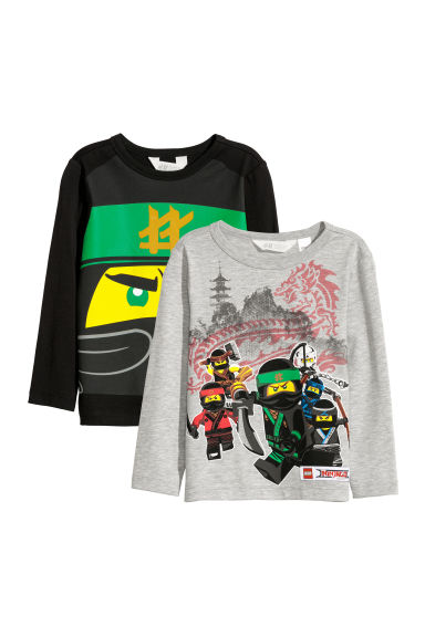 T-shirts en jersey, lot de 2 - Noir/Lego - ENFANT | H&M BE