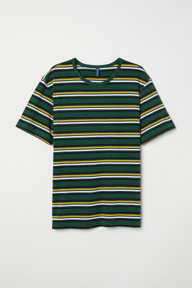 Striped T-shirt - Dark green/Muliticoloured - Men | H&M CN