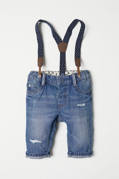 Jeans with braces - Light denim blue - Kids | H&M CN