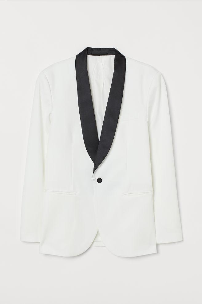 843db62b9ae72 ... Smokin Ceketi Slim Fit - Beyaz/Siyah - ERKEK | H&M ...