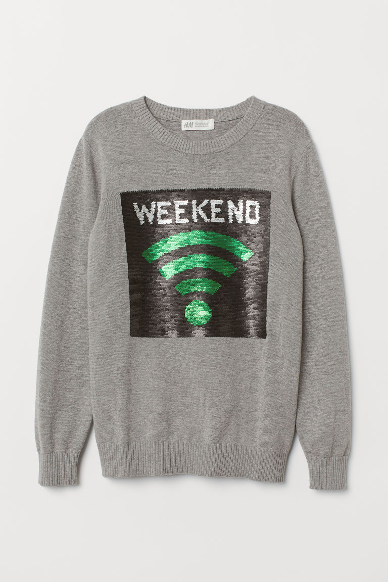 Jumper with reversible sequins - Grey marl/Weekend - Kids | H&M CN