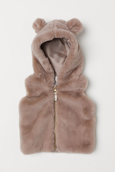 Faux fur gilet with a hood - Mole - Kids | H&M CN