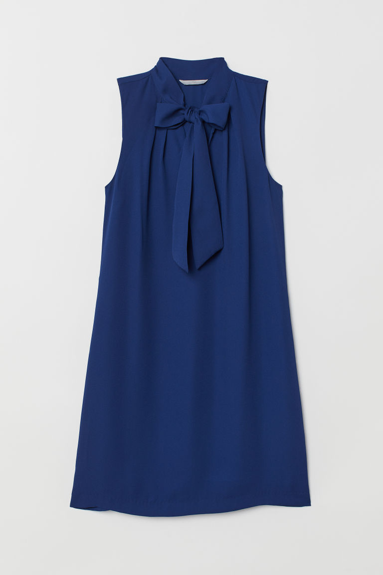 Tie-collar dress - Blue - Ladies | H&M