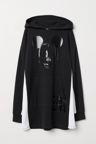 Hooded Sweatshirt Dress - Black/Mickey Mouse - Ladies | H&M US