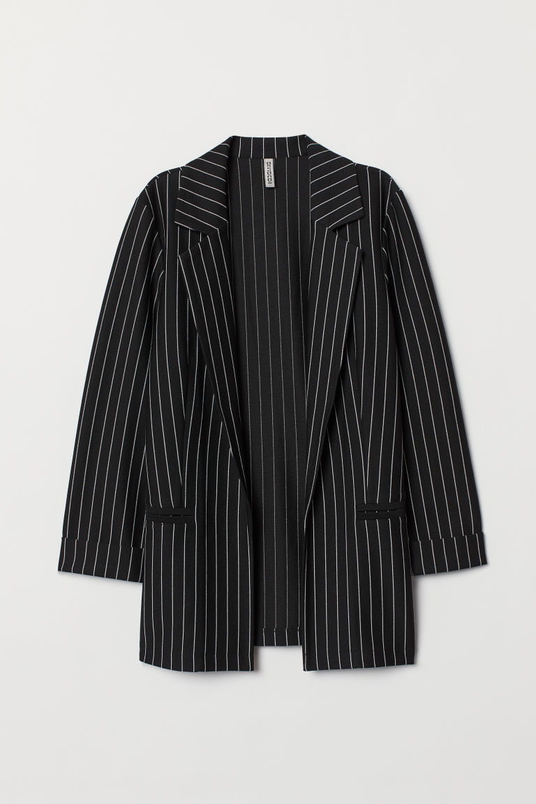 Jersey jacket - Black/Pinstriped -  | H&M