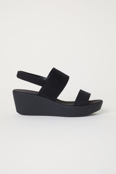 Wedge-heel sandals - Black -  | H&M