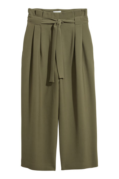 Wide trousers - Khaki green -  | H&M