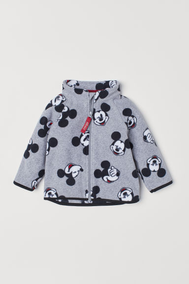 Patterned fleece jacket - Grey marl/Mickey Mouse - Kids | H&M CN