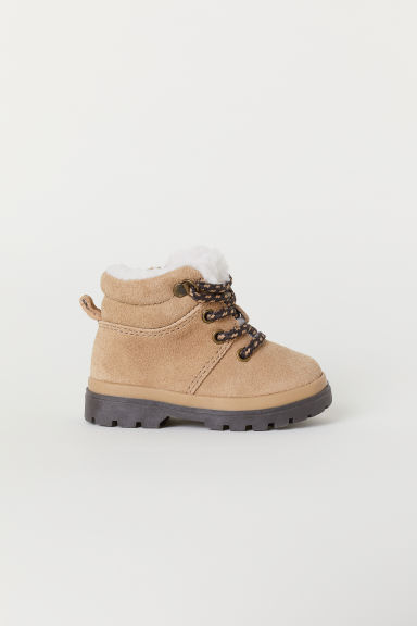 Pile-lined suede boots - Beige -  | H&M