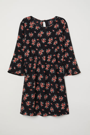 Crêpe dress - Black/Floral - Ladies | H&M