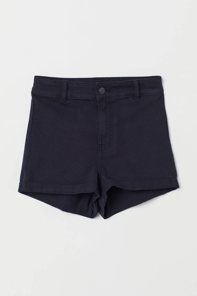 Twill shorts High Waist - Dark blue -  | H&M CN