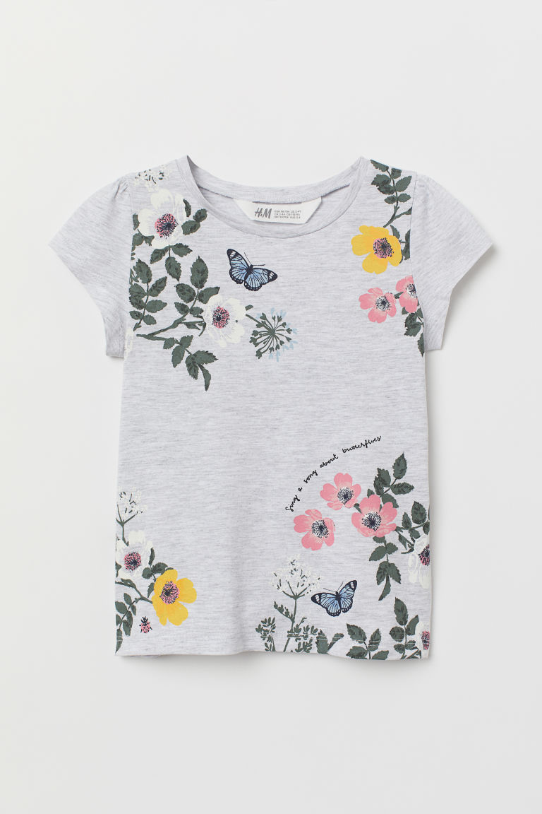 Printed jersey top - Light grey marl/Flowers - Kids | H&M IN