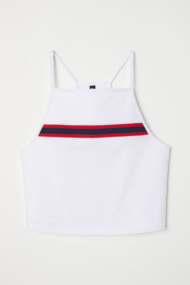 Cropped jersey top - White -  | H&M