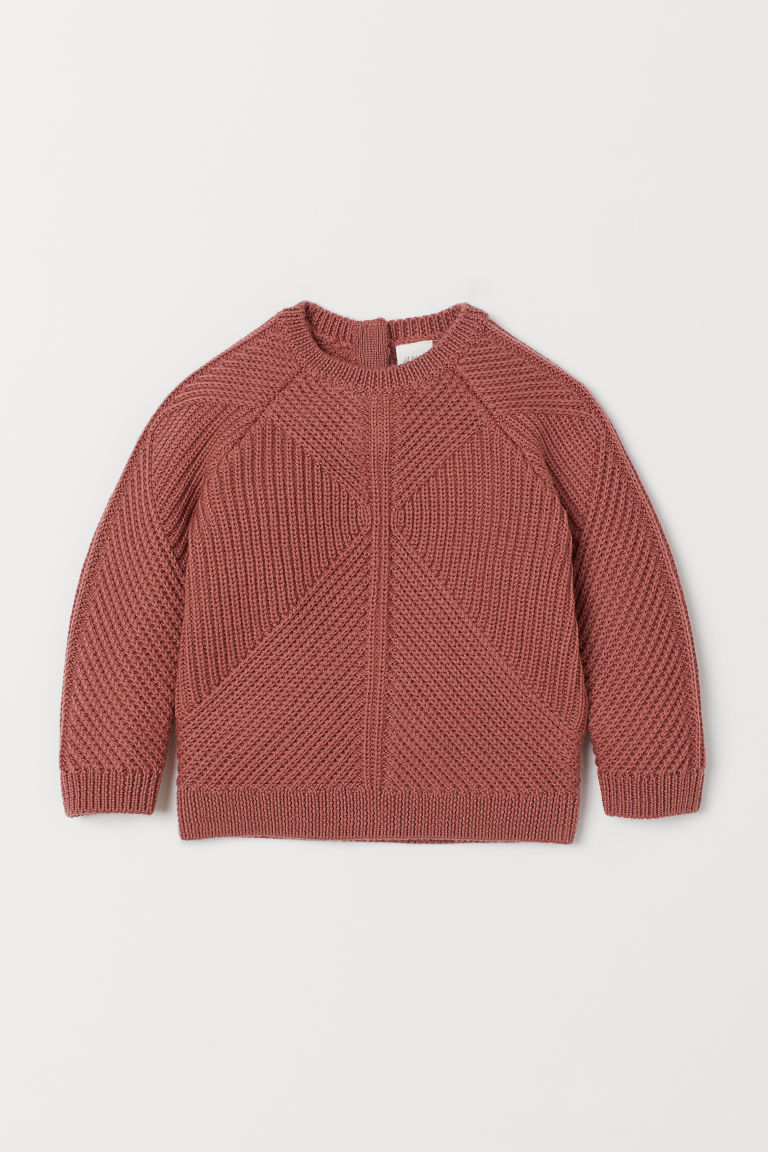 Textured-knit wool jumper - Pink - Kids | H&M