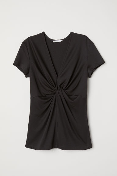 Knot-detail top - Dark grey -  | H&M CN