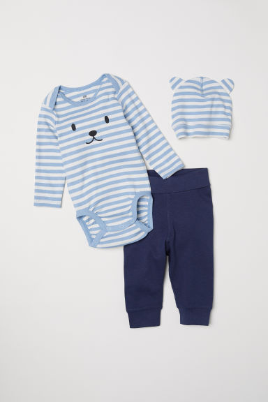 3-piece jersey set - Light blue/Striped - Kids | H&M