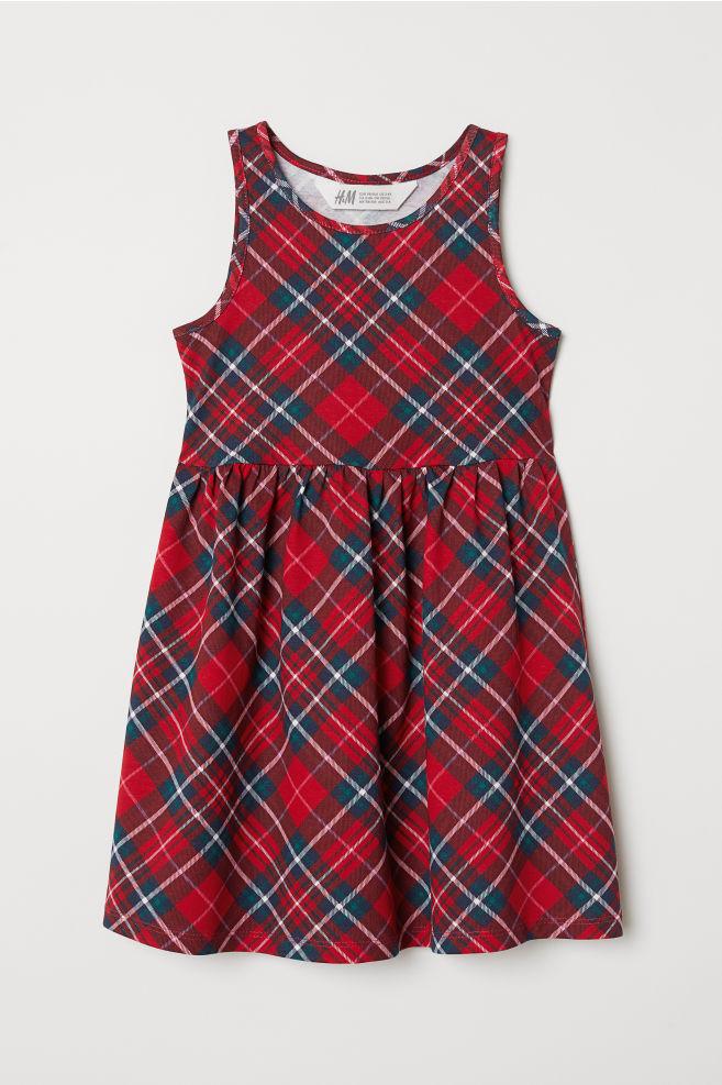 369ed75c45fee4 Sleeveless Jersey Dress - Red plaid - Kids