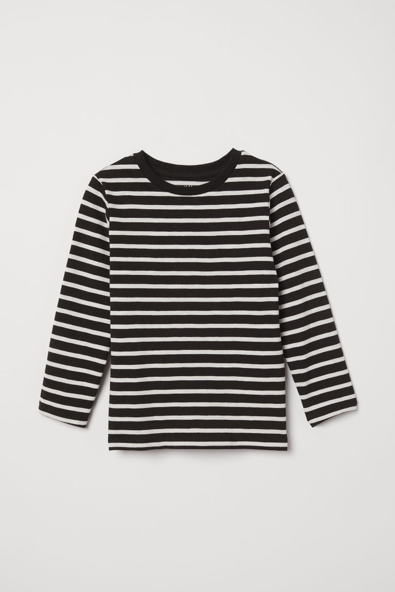 Top in jersey - Nero/bianco righe - BAMBINO | H&M IT