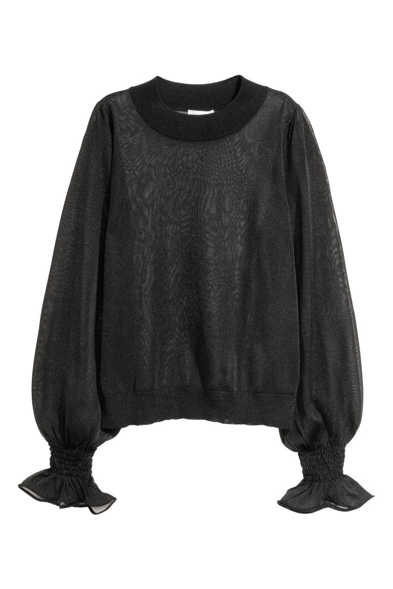 Semi-transparent top - Black - Ladies | H&M
