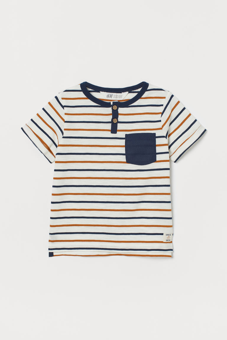 Short-sleeved Henley shirt - White/Camel striped - Kids | H&M