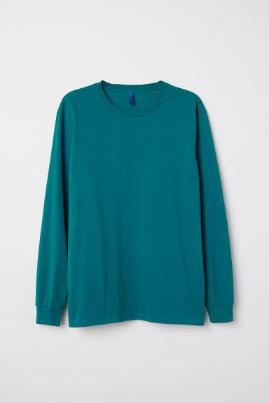Long-sleeved top - Dark turquoise - Men | H&M