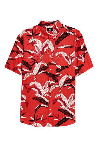 Cotton shirt Regular Fit - Red/Leaf print - Men | H&M CN