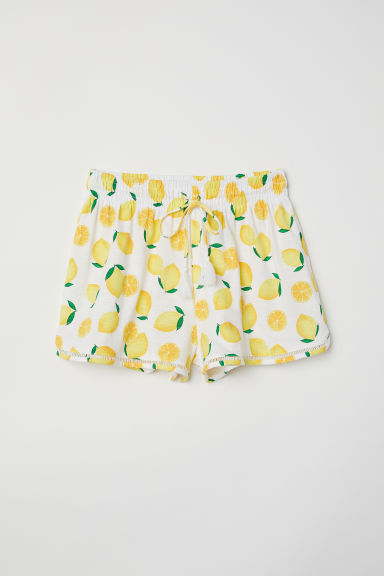 Slub jersey shorts - White/Lemons - Ladies | H&M GB