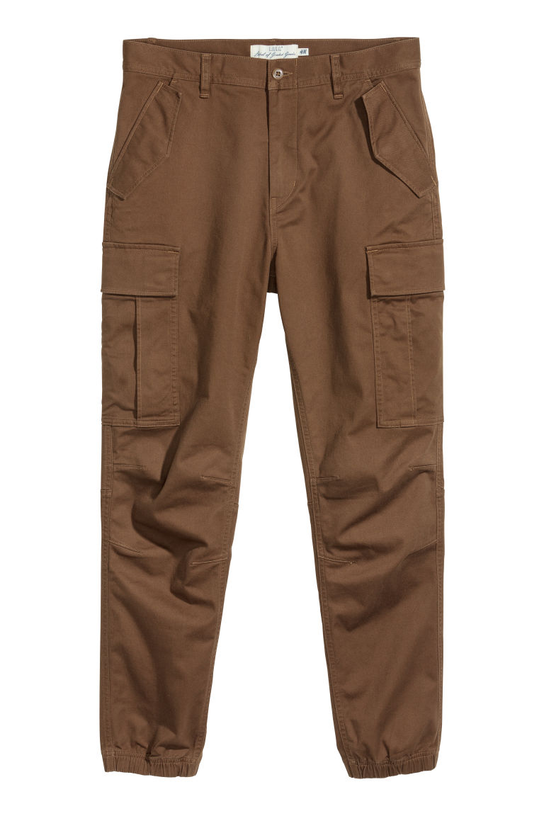 Cotton twill cargo joggers - Khaki brown - Men | H&M