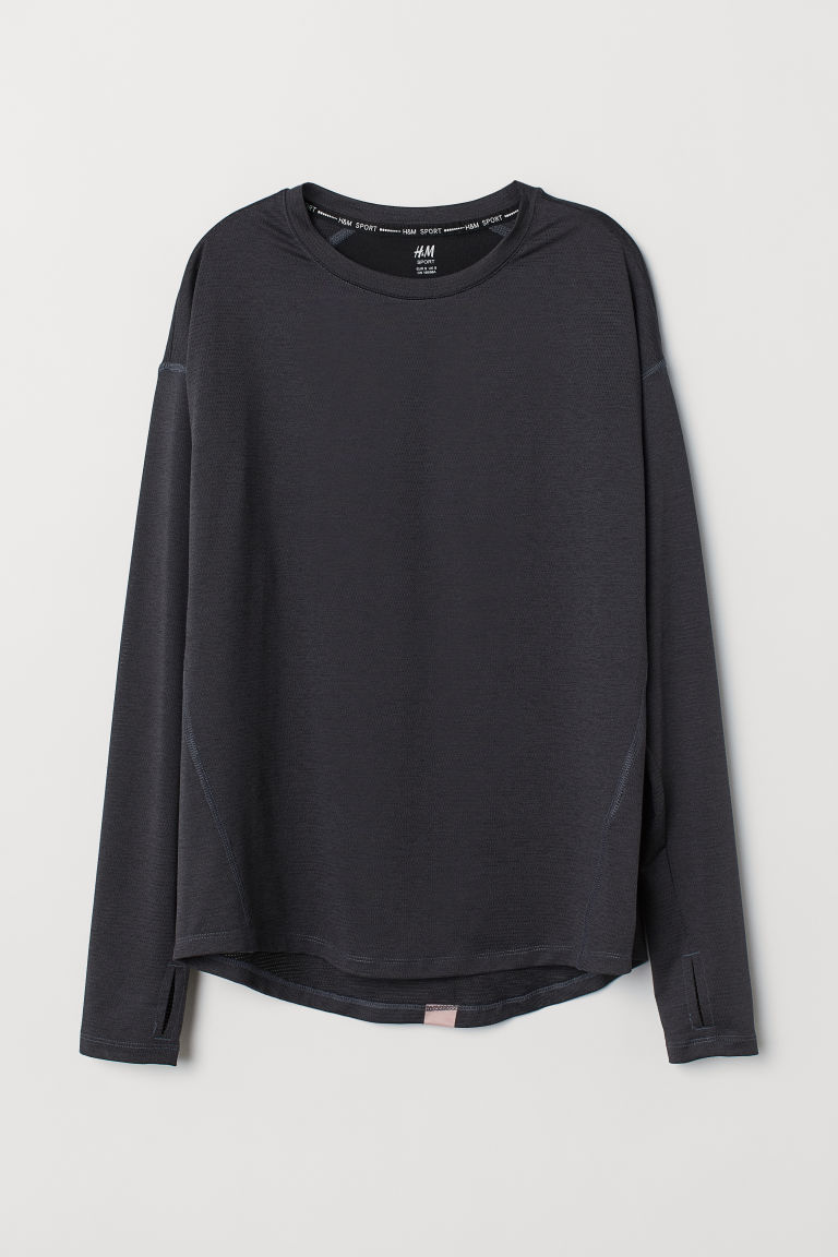 Long-sleeved sports top - Black -  | H&M