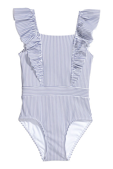 Swimsuit with frills - Blue/White striped -  | H&M