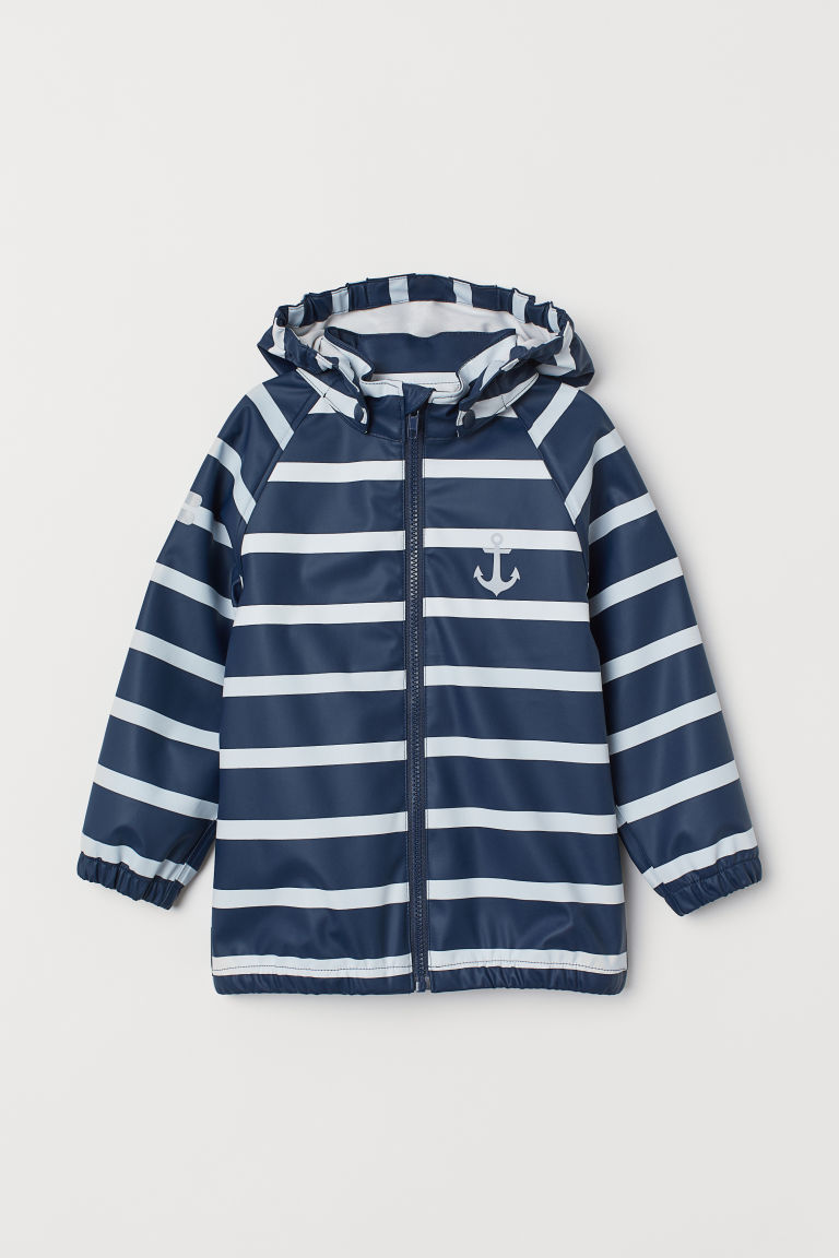Hooded rain jacket - Dark blue/White striped -  | H&M CN