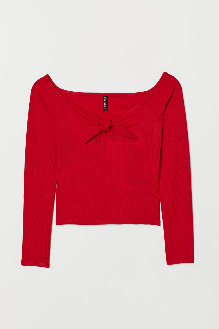 Off-the-shoulder Top - Red - Ladies | H&M CA