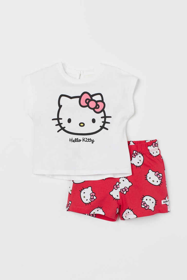 Top et short - Blanc/Hello Kitty - ENFANT | H&M FR
