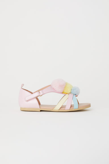 Appliquéd sandals - Light pink/Pompoms -  | H&M CN