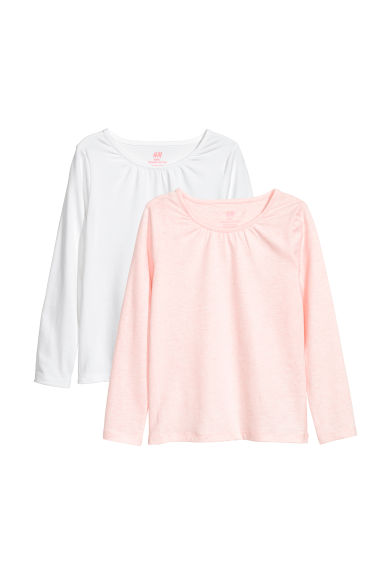 2-pack jersey tops - White/Pink marl - Kids | H&M