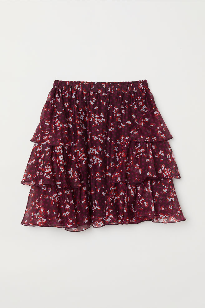 f78b934c403 Patterned Tiered Skirt - Burgundy/floral - Ladies | H&M ...