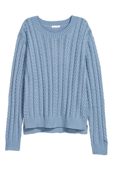 Cable-knit jumper - Light blue - Ladies | H&M
