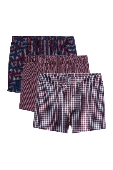 3-pack woven boxer shorts - Plum/Patterned - Men | H&M GB