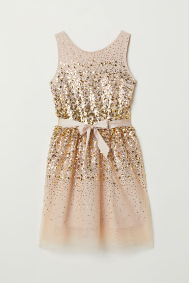 Sequined dress - Beige/Gold-coloured - Kids | H&M