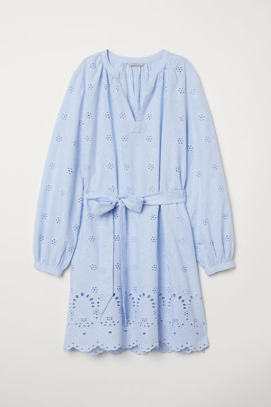 Dress with broderie anglaise - Light blue - Ladies | H&M