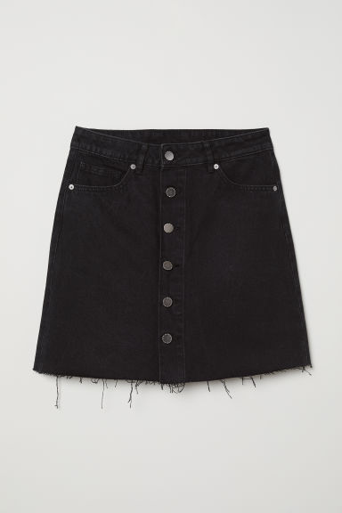 A-line denim skirt - Black denim -  | H&M CN