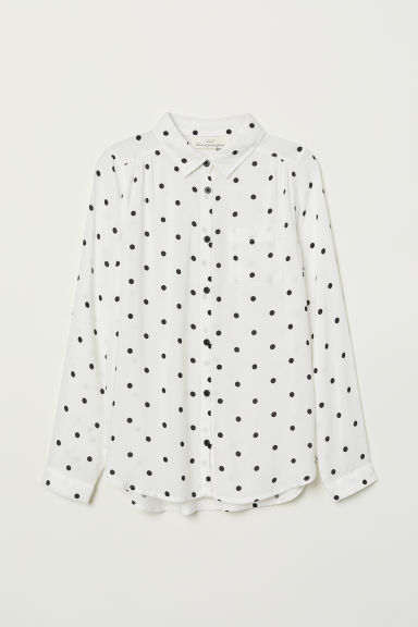 Viscose shirt - White/Black spotted - Kids | H&M