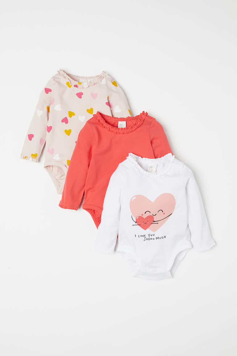 3-pack long-sleeved bodysuits - Powder pink/Hearts - Kids | H&M CN