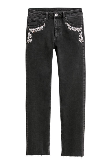 Jeans with sparkly stones - Black denim/Sparkly stones - Ladies | H&M