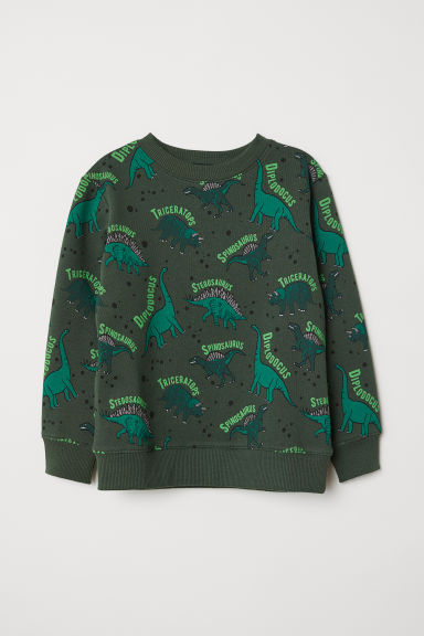 Appliquéd sweatshirt - Dark green/Dinosaurs - Kids | H&M