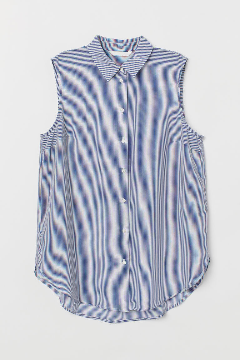 Sleeveless Blouse - Blue/white striped - Ladies | H&M CA