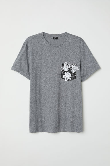 Cotton T-shirt - Dark grey marl - Men | H&M