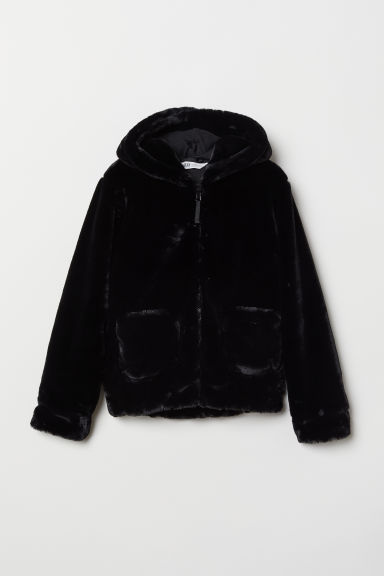 Hooded faux fur jacket - Black - Kids | H&M
