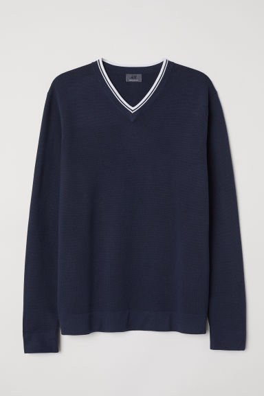 Premium cotton jumper - Dark blue - Men | H&M