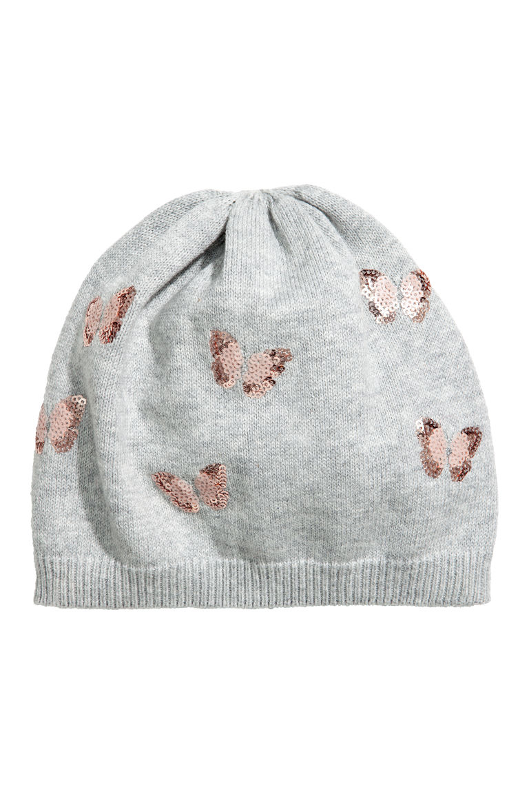 Fine-knit hat with sequins - Grey/Butterflies - Kids | H&M CN